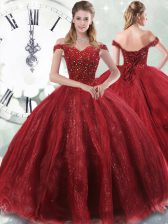 Wine Red Ball Gowns Tulle Off The Shoulder Sleeveless Beading Lace Up Ball Gown Prom Dress Brush Train