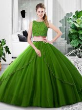 Fabulous Olive Green Scoop Neckline Lace and Ruching Sweet 16 Dresses Sleeveless Zipper