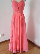 Sweetheart Sleeveless Chiffon Quinceanera Court of Honor Dress Ruching Zipper