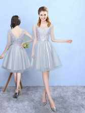 Silver Half Sleeves Lace Knee Length Vestidos de Damas