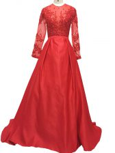 Red Evening Dress Prom and Party and Military Ball and Sweet 16 with Lace and Appliques High-neck Long Sleeves Brush Train Zipper