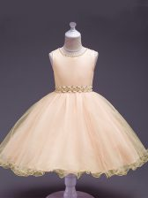 Peach Little Girl Pageant Dress Wedding Party with Beading Scoop Sleeveless Zipper