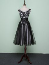 Scoop Sleeveless Prom Evening Gown Knee Length Lace and Appliques Black Tulle