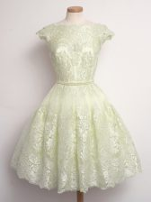Fantastic Scalloped Cap Sleeves Lace Quinceanera Court of Honor Dress Lace Lace Up
