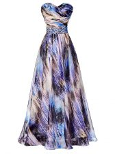 Beautiful Multi-color A-line Printed Sweetheart Sleeveless Beading and Ruching Side Zipper Dress for Prom