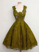 Artistic Olive Green Straps Lace Up Lace Quinceanera Court Dresses Sleeveless