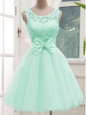 Fine Lace and Bowknot Quinceanera Dama Dress Apple Green Lace Up Sleeveless Knee Length