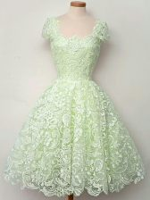 Artistic Straps Cap Sleeves Dama Dress for Quinceanera Knee Length Lace Yellow Green Lace