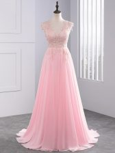 Baby Pink Chiffon Side Zipper V-neck Sleeveless Dress for Prom Brush Train Lace and Appliques
