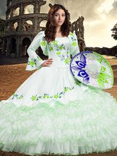 Long Sleeves Lace Up Floor Length Embroidery and Ruffled Layers 15 Quinceanera Dress