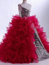 Wine Red Sleeveless Floor Length Ruffles and Sequins Zipper Child Pageant Dress