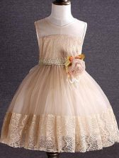 Excellent Champagne Scoop Neckline Lace and Hand Made Flower Little Girls Pageant Dress Sleeveless Zipper