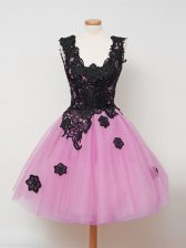 Sleeveless Knee Length Lace Zipper Quinceanera Court Dresses with Lilac