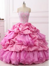Super Sleeveless Floor Length Beading and Ruffles and Pick Ups Lace Up Vestidos de Quinceanera with Rose Pink