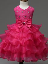 Dramatic Knee Length Hot Pink Little Girls Pageant Dress Wholesale Organza Sleeveless Lace and Ruffled Layers and Bowknot
