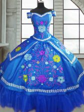 Flare Taffeta Sweetheart Short Sleeves Lace Up Beading and Embroidery 15 Quinceanera Dress in Blue