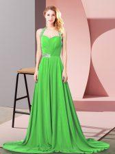 Halter Top Zipper Beading and Ruching Prom Party Dress Brush Train Sleeveless