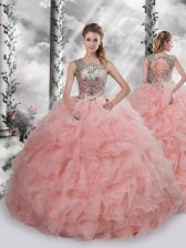 Sleeveless Organza Floor Length Lace Up Quinceanera Dresses in Baby Pink with Beading and Ruffles