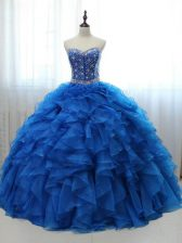 Fancy Organza and Tulle Sleeveless Floor Length Quinceanera Dress and Beading and Ruffles