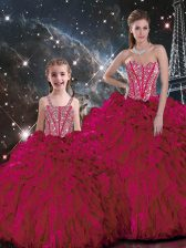 Ball Gowns Quinceanera Dress Burgundy Sweetheart Organza Sleeveless Floor Length Lace Up