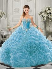 Aqua Blue Lace Up Sweet 16 Dress Beading and Ruffles Sleeveless Court Train