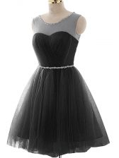 Sumptuous Black Prom and Party and Beach with Beading and Ruching Scoop Sleeveless Lace Up