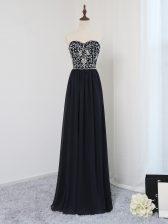 Fashion Floor Length Black Evening Dress Sweetheart Sleeveless Zipper