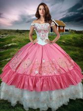 Graceful Hot Pink Lace Up 15th Birthday Dress Beading and Embroidery and Ruffled Layers Sleeveless Floor Length