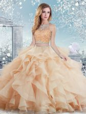 Fashionable Ball Gowns Quince Ball Gowns Peach Scoop Tulle Sleeveless Floor Length Clasp Handle