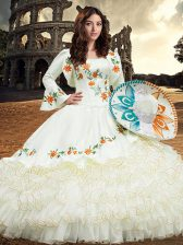 Square Long Sleeves Sweet 16 Quinceanera Dress Floor Length Embroidery and Ruffled Layers White Organza