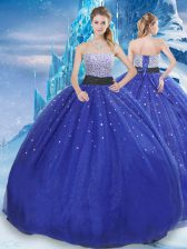 Dazzling Floor Length Lace Up Quinceanera Dresses Royal Blue for Military Ball and Sweet 16 and Quinceanera with Beading and Sequins