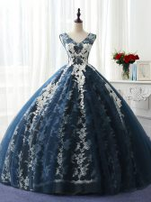Navy Blue Ball Gowns Ruffles and Pattern Sweet 16 Quinceanera Dress Lace Up Organza and Taffeta and Chiffon and Tulle Sleeveless Floor Length