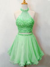 Knee Length Green Quinceanera Court Dresses Halter Top Sleeveless Lace Up