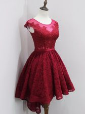 Ideal High Low Wine Red Dama Dress Lace Cap Sleeves Beading and Lace
