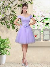 Beauteous Lilac A-line Tulle V-neck Cap Sleeves Lace and Belt Knee Length Lace Up Damas Dress