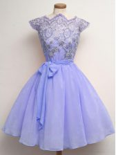 Comfortable Lavender Cap Sleeves Knee Length Lace and Belt Lace Up Dama Dress for Quinceanera