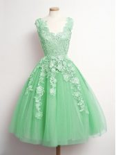 Enchanting Green Damas Dress Prom and Party and Wedding Party with Appliques V-neck Sleeveless Lace Up