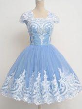 Light Blue Zipper Quinceanera Dama Dress Lace Cap Sleeves Knee Length