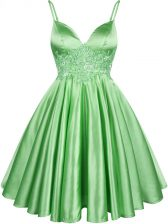 Hot Sale Green Elastic Woven Satin Lace Up Spaghetti Straps Sleeveless Knee Length Quinceanera Dama Dress Lace