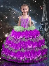 Adorable Beading and Ruffled Layers Little Girls Pageant Gowns Multi-color Lace Up Sleeveless Floor Length
