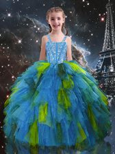 Stylish Floor Length Baby Blue Little Girls Pageant Gowns Tulle Sleeveless Beading and Ruffles