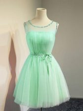 Admirable Apple Green Sleeveless Belt Knee Length Dama Dress