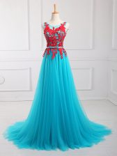 High End Aqua Blue Scoop Zipper Lace and Appliques Evening Dress Brush Train Sleeveless
