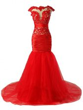Attractive Red Scoop Zipper Lace and Appliques and Ruching Homecoming Dress Brush Train Cap Sleeves