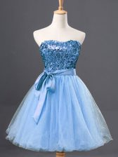 Free and Easy Sleeveless Tulle Mini Length Zipper Prom Evening Gown in Light Blue with Sequins