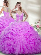 High End Scoop Sleeveless Organza Quince Ball Gowns Beading and Ruffles Zipper