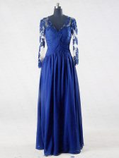 Beautiful Blue V-neck Zipper Lace and Appliques Dress for Prom Long Sleeves