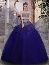 High Quality Royal Blue Sleeveless Beading Floor Length Ball Gown Prom Dress