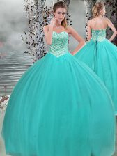 Custom Made Sweetheart Sleeveless Lace Up Ball Gown Prom Dress Turquoise Tulle