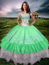 Free and Easy Green Taffeta Lace Up Off The Shoulder Sleeveless Floor Length Sweet 16 Dresses Beading and Embroidery and Ruffled Layers